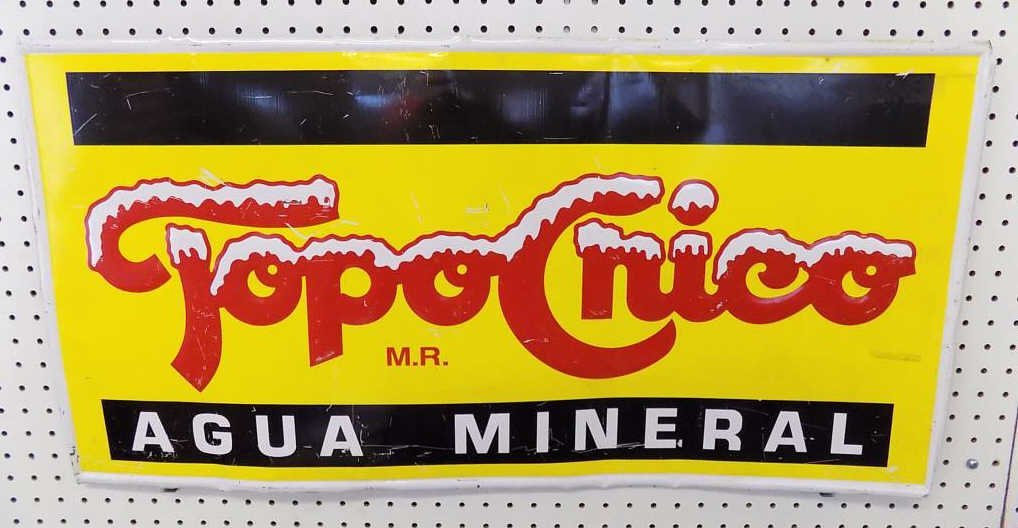 TOPOCHICO AGUA MINERAL ADVERTISING SIGN Vintage
