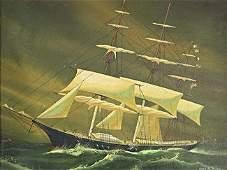 JOHN TAYLOR FOLK ART AMERICA SHIP PAINTING John A
