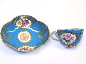 Meissen Demitasse Floral Tea Cup & Saucer Early Meissen