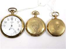 GOLD FILLED POCKET WATCH LOT Grouping of 3 antique Gold