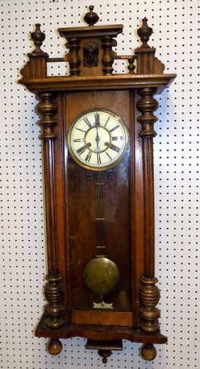 Victorian Oak Vienna Regulator Wall Clock Antique
