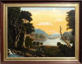 Thomas Chambers - Hudson River Fantasy Painting Thomas