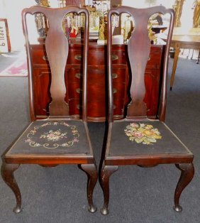 Pair Queen Anne Urn Back Side Chairs Pair 19th Century