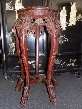 Chinese Ching Dynasty Marble Top Rosewood Stand Chinese
