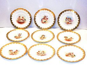 Early Set French Gilt Scenic Plates Antique Set Of 11