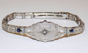 Fancy Art Deco Gold Diamond & Sapphire Bracelet