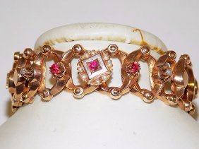 French Victorian Rose Gold Ruby Pearl Bracelet
