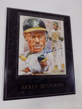 Rickey Henderson Oakland A's Signed Lithograph