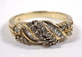 Stylish 14k Inner Twined Gold & Diamond Ring