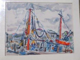 Stewart Wheeler - Wpa Style Harbor Lithograph