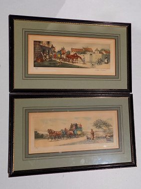 French Carriage Scene Aquatint Etchings
