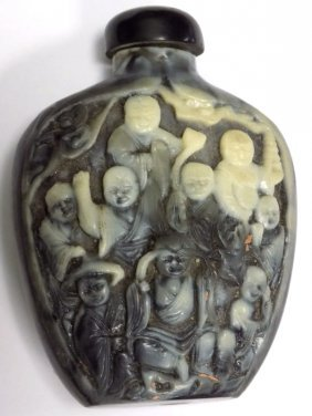 Chinese Immortals Hardstone Snuff Bottle