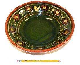 Folk Art Glazed Slipware Bowl