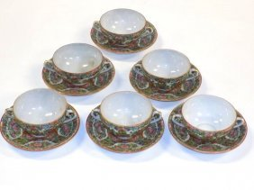 Chinese Ching Rose Medallion Bowls Saucers
