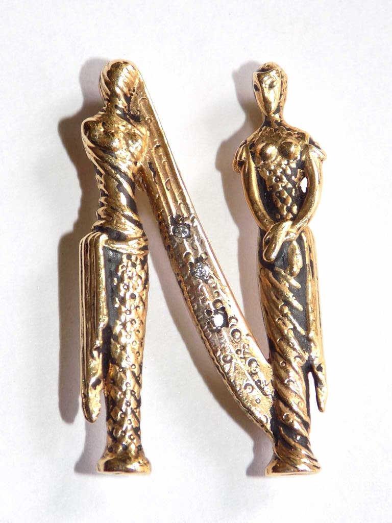 ERTE COLLECTION 14K GOLD LETTER N PIN Erte Collection -