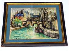 ABSTRACT EUROPEAN CANAL WATERCOLOR Illegibly Signed