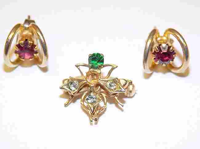 14K GOLD TOURMALINE EARRINGS & EMERALD BUG PIN