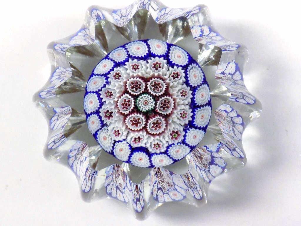 ANTIQUE ITALIAN MILLE FIORE ART GLASS PAPERWEIGHT