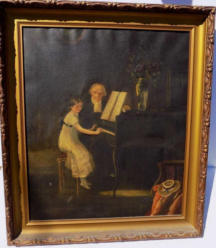 VICTORIAN PIANO PLAYING PAINTING 19th Century painting