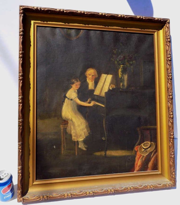 VICTORIAN PIANO PLAYING PAINTING 19th Century painting - 2