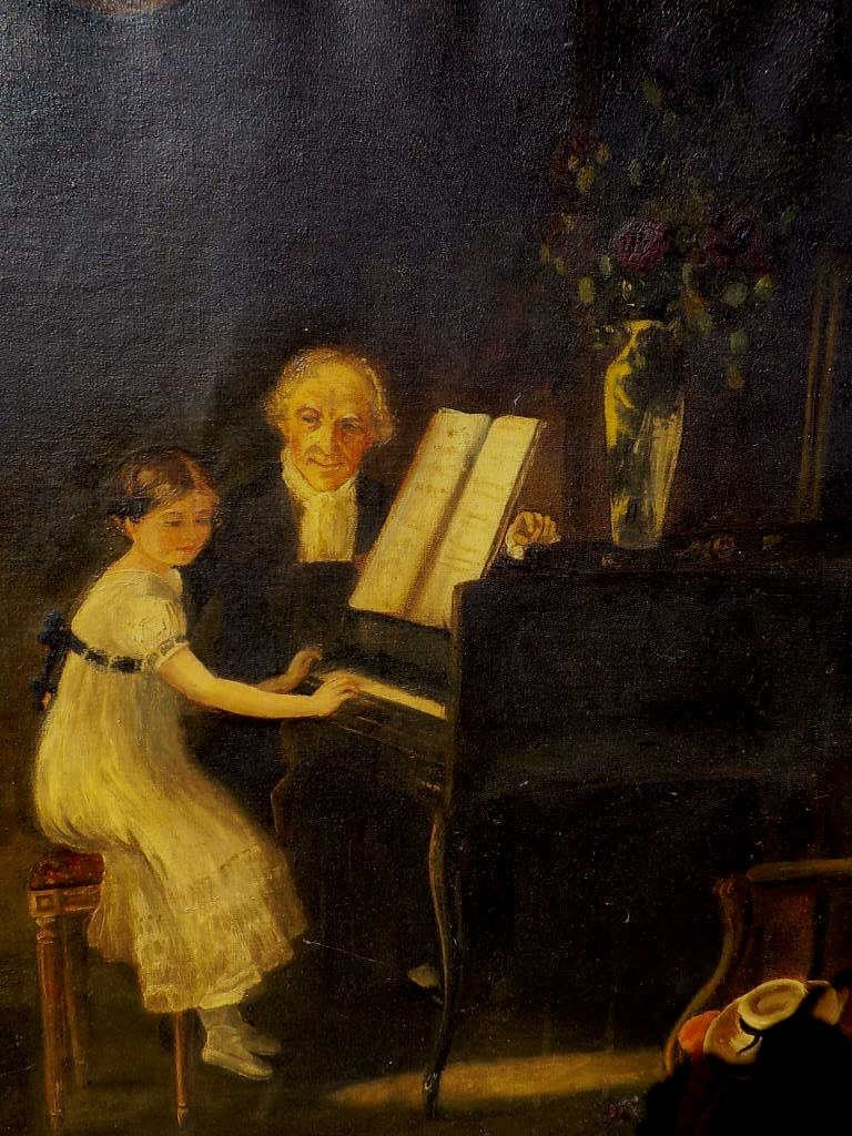 VICTORIAN PIANO PLAYING PAINTING 19th Century painting - 3