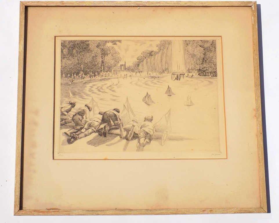 GEYER - NEW YORK POND BOATS ETCHING Harold Carl Geyer - - 5