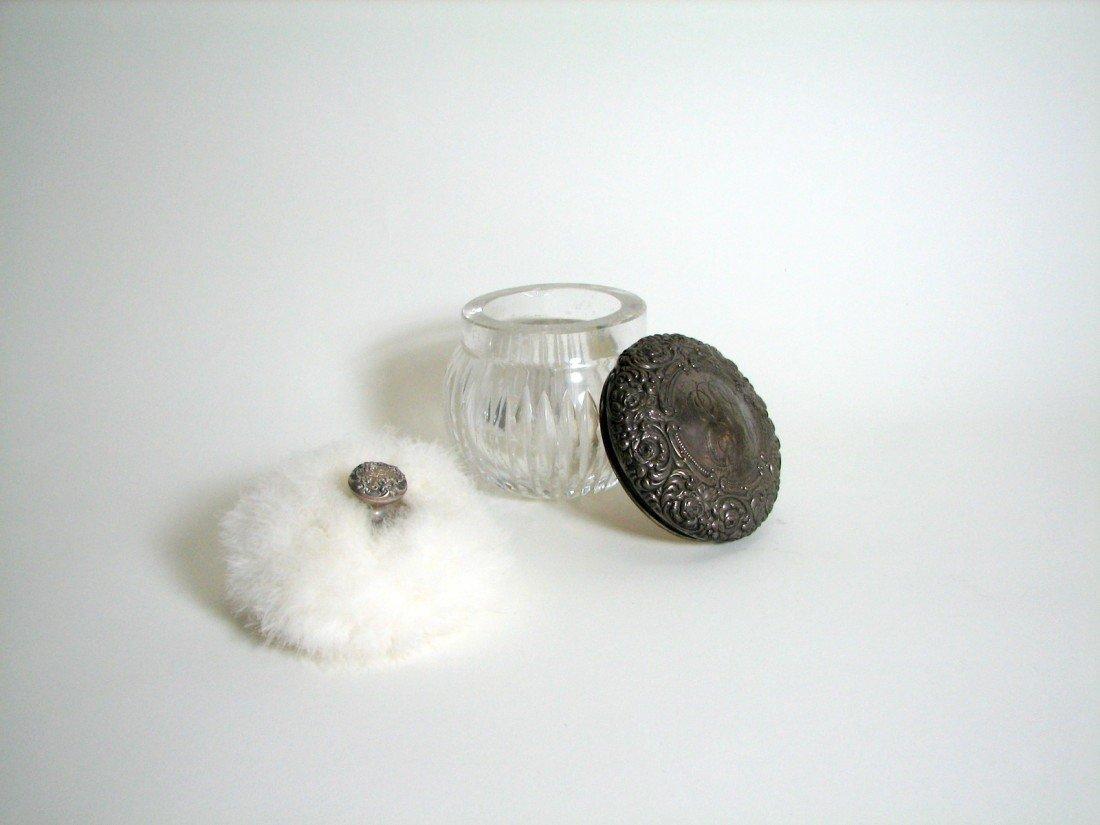 5: Sterling Silver Crystal Powder Jar W/ Puff