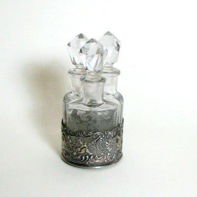 9: Vintage Nesting Crystal Perfume Bottles in Sterling