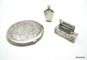 11A: Sterling Compact, Lipstick & Perfume, Matching Set