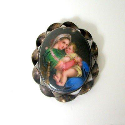 13: Antique Madonna & Baby on Porcelain, Sterling Oval