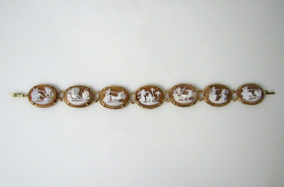 14: Vintage Italian Mythical Cameo & Gold Bracelet