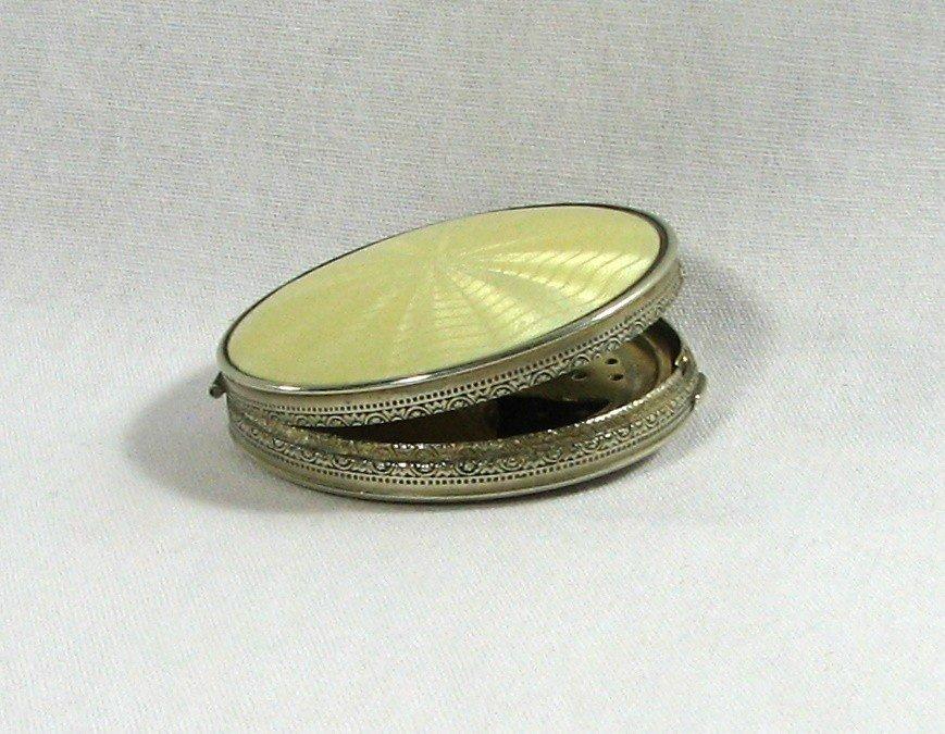 15: Vintage Guilloche Enamel Sterling Compact
