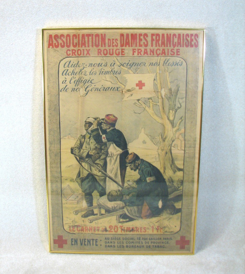 20: Antique War French Military Red Cross Poster