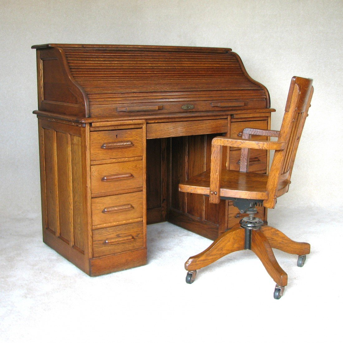 58 antique angus of london rolltop desk and chair - Rolltop Desk