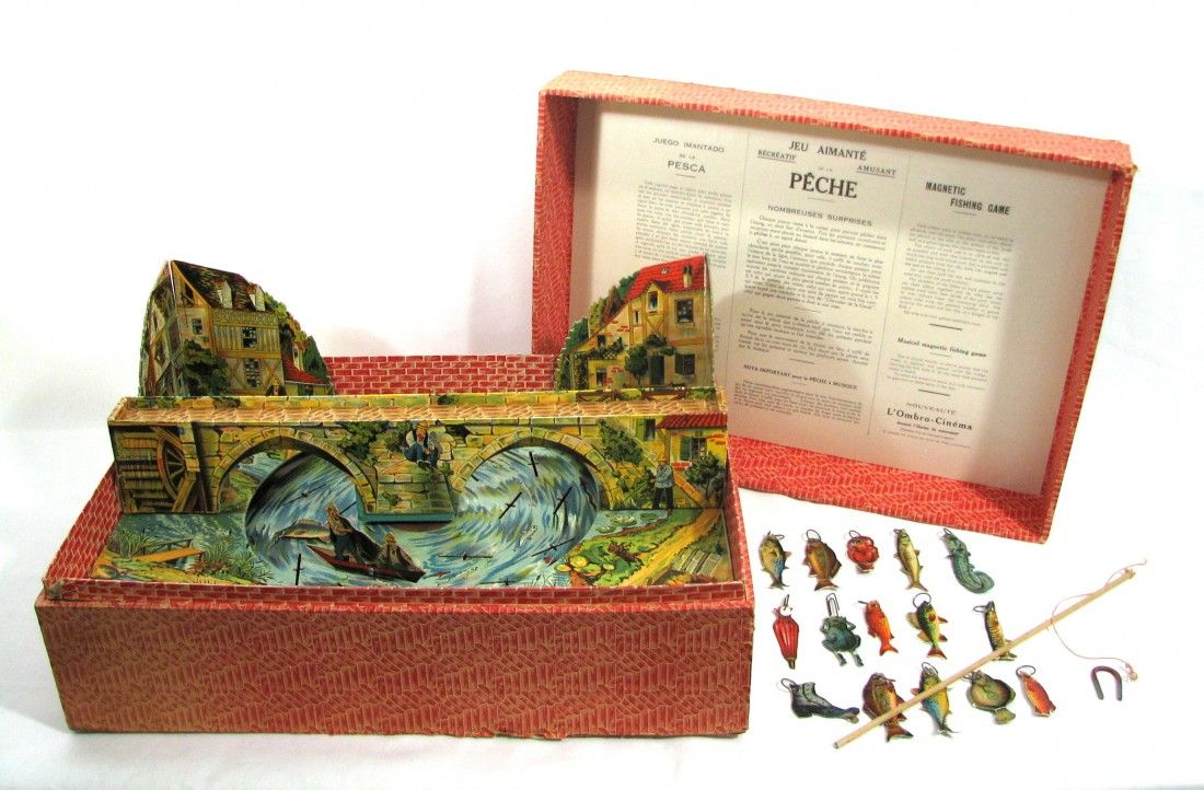 Antique French Musical Fishing Toy