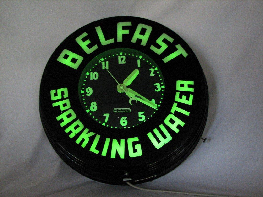 112: Vintage Neon Advertising Clock, Glo Dial Belfast