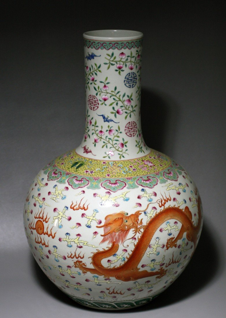122: POLYCHROME DRAGON PORCELAIN VASE