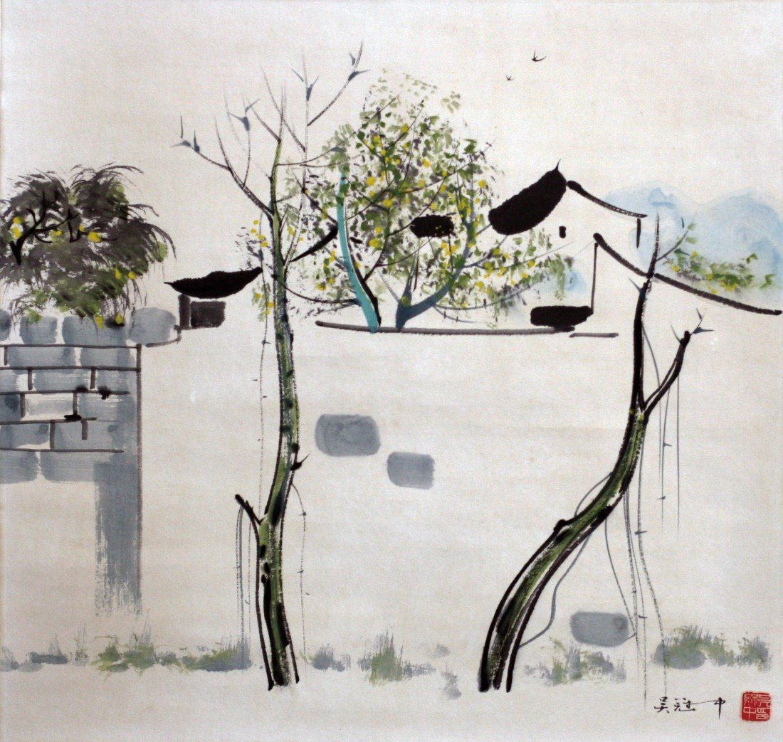 132: WU GUANZHONG'S PAINTING SCROLL OF SRPING