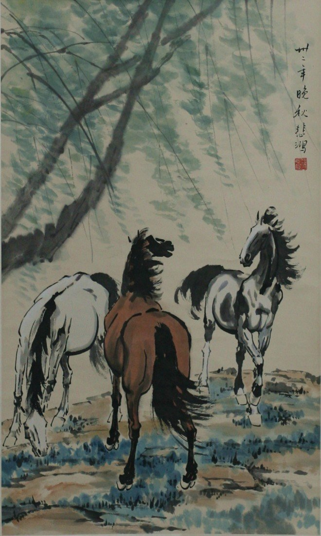 185: XU BEIHONG'S PAINTING SCROLL OF HORSES