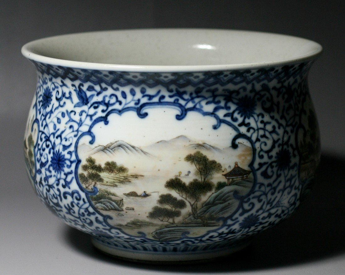 4: BLUE AND WHITE ZUN WITH POLYCHROME PAINTINGS