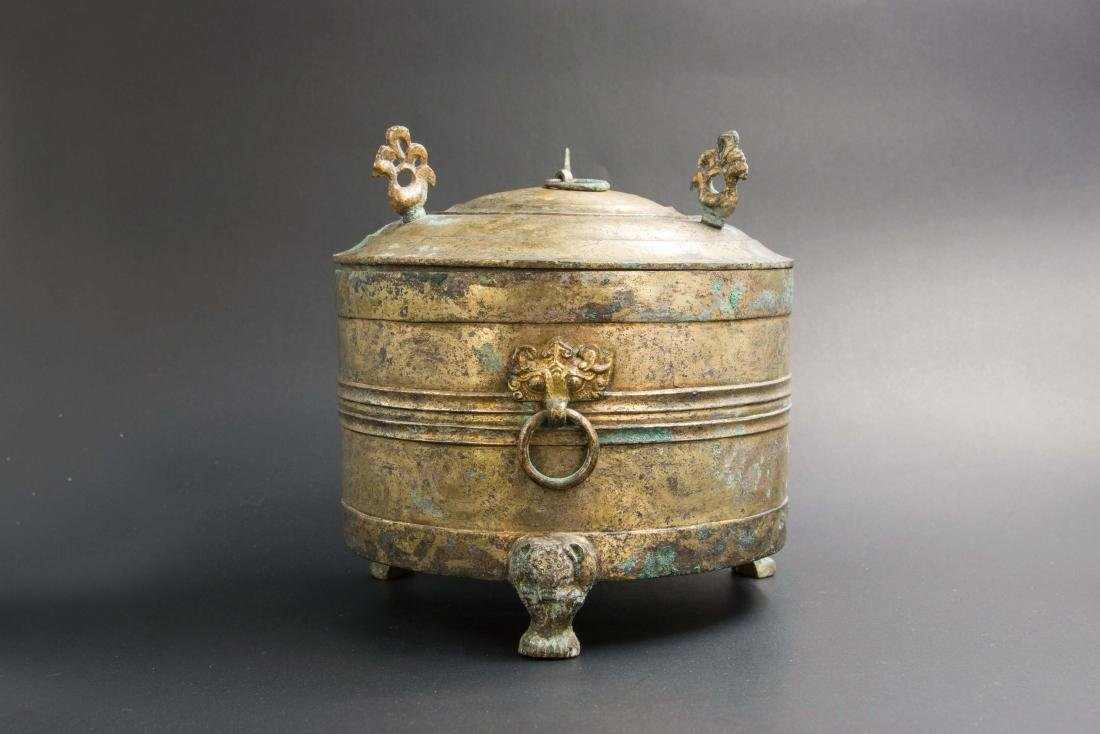 A Painted Gilt-Bronze Engraved Vessel, Western Han