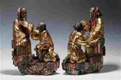 QING DYNASTY TWO WOOD STATUES OF ¡¥WEDDING¡¦?