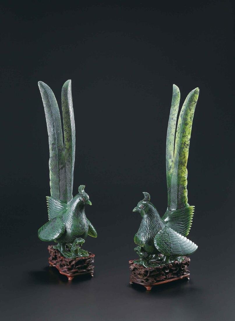 A Pair Of Spinach-Green Jade Peacocks,Qing Dynasty