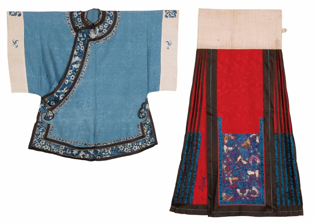 An Embroidered Silk Blue-Ground Woman's Coat And A