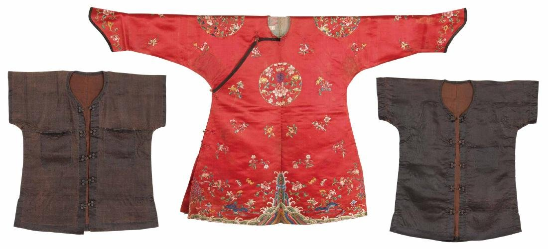 A Set Of Three Pieces Of Embroidered Silk Coats For Boy