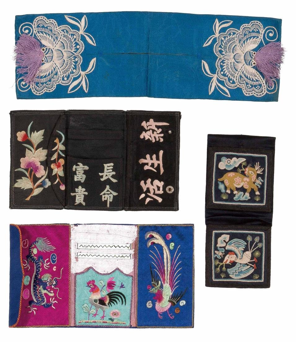 A Set Of Five Pieces Of Embroidered Silk Sachet For