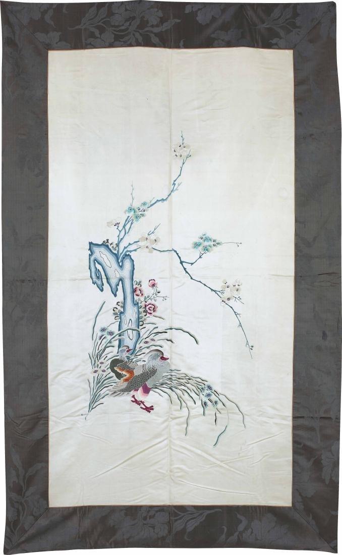 An Embroidered Silk Moonlight-Ground 'Mandarin Ducks'