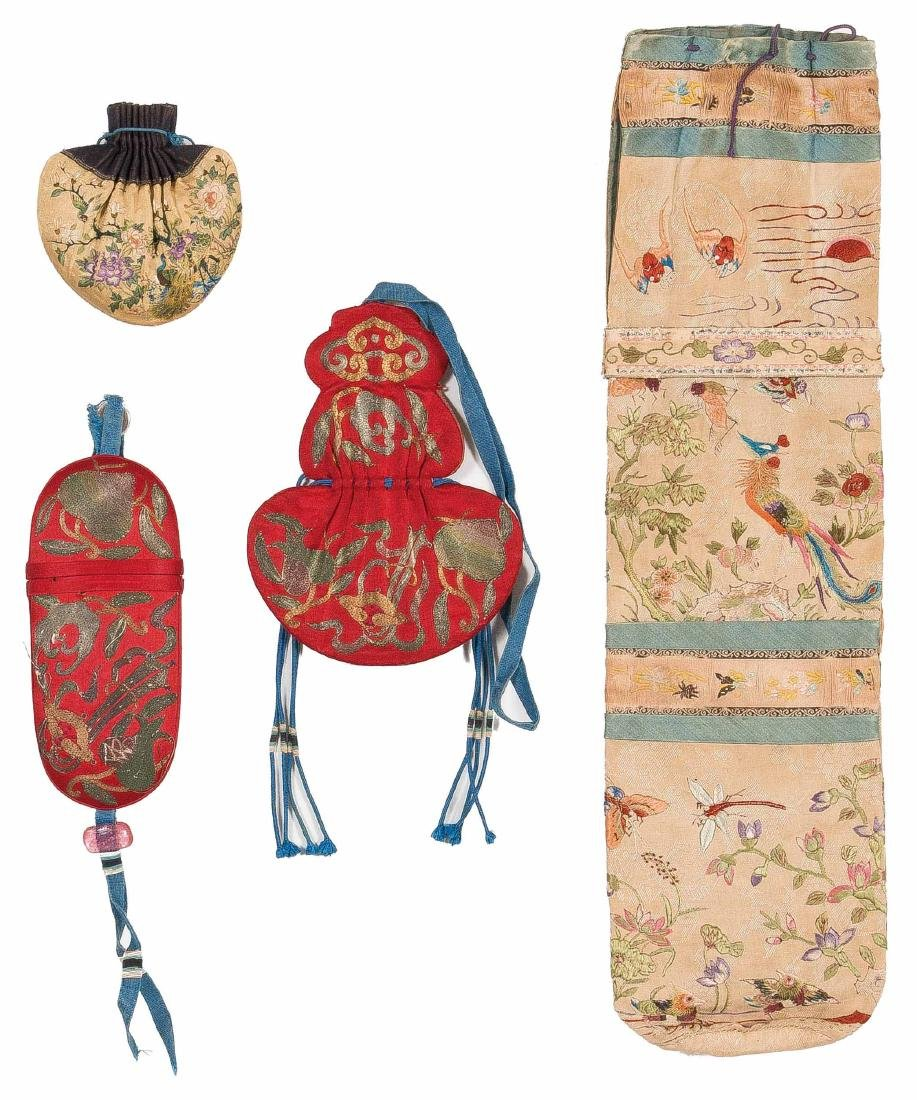 A Set Of Four Pieces Of Embroidered Silk Sachet For