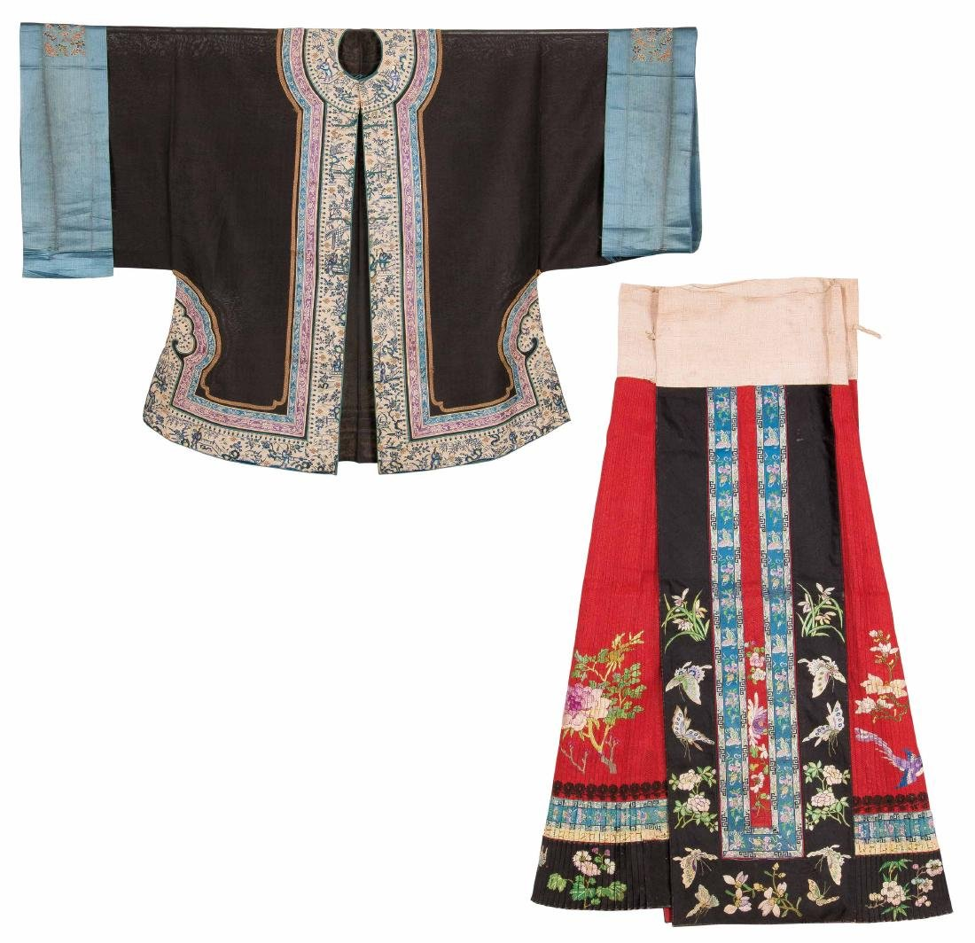 An Embroidered Silk Woman's Dragon Robe And A