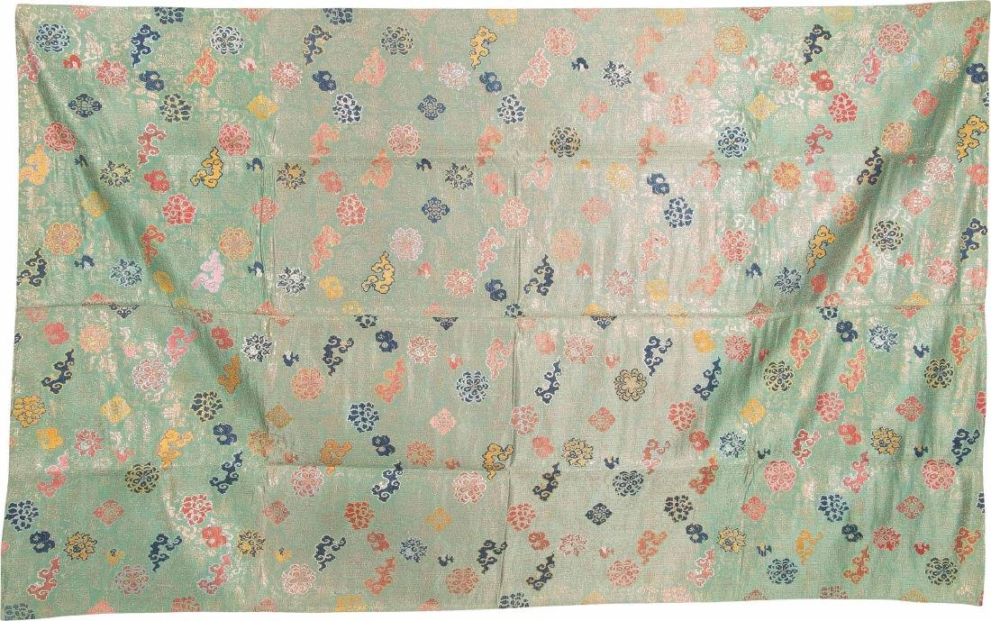 An Embroidered Silk Green-GroundSeat Cushion Cover For